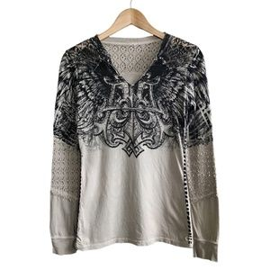 AFFLICTION | Tan Crochet Lace Western Tee